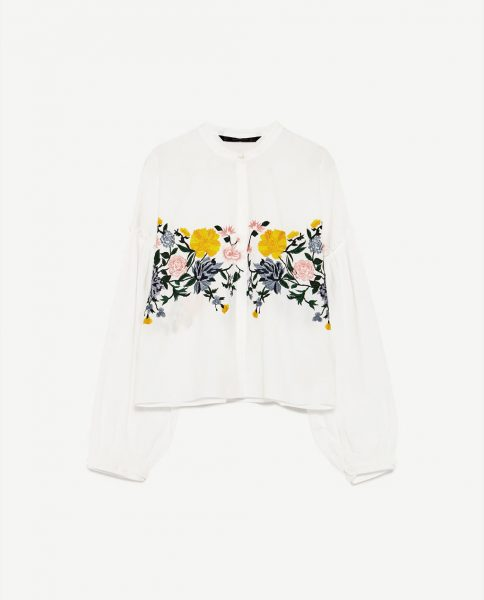 Embroidered shirt with yellow flowers