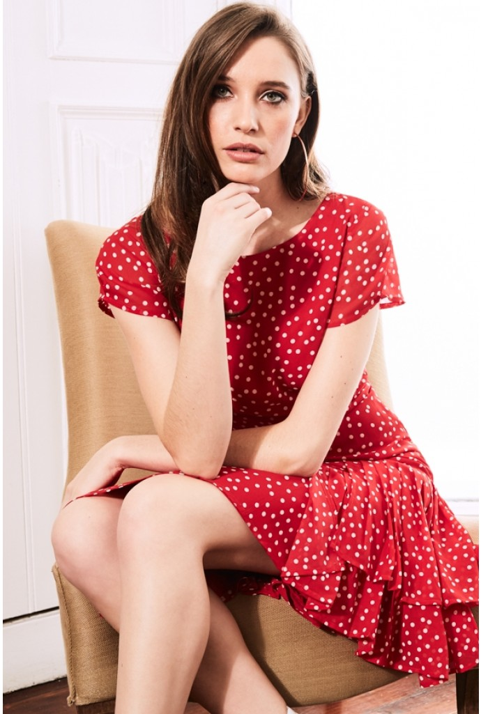 Sosandar Red Polka Dot Dress