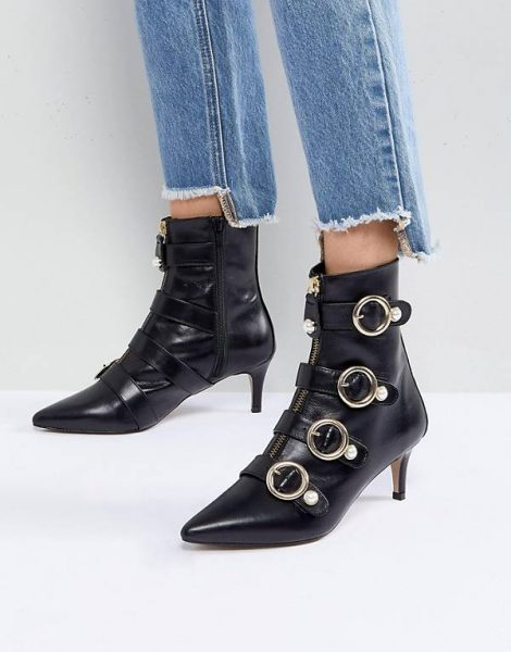 Leather Kitten Heel Boots